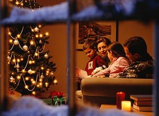 Christmas decorated cottage with open fire