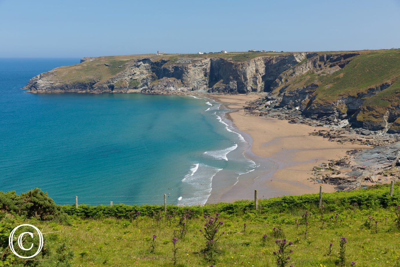 The beautiful sandy bay of Trebarwith Strand is less than 10 minutes