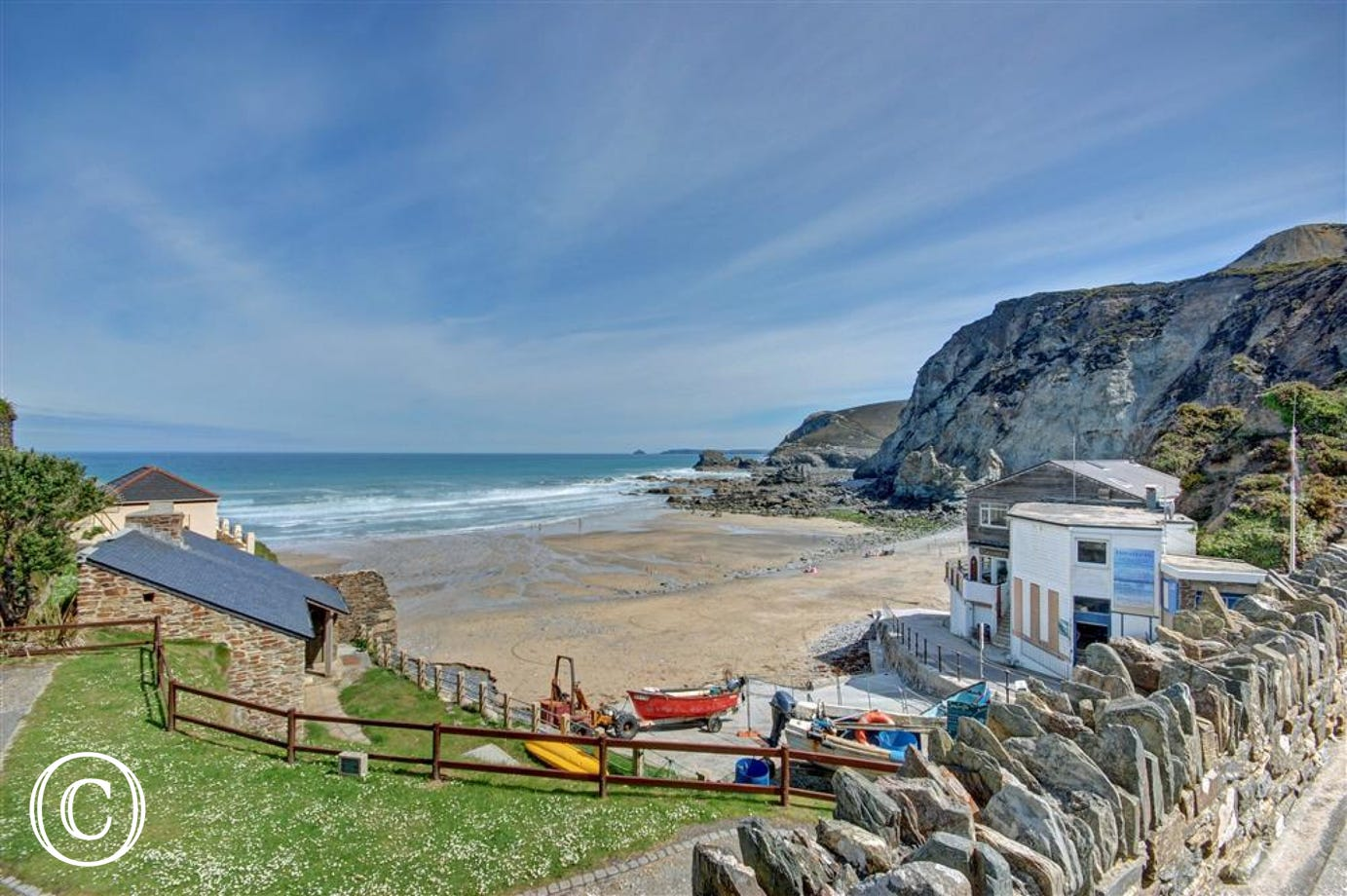 The local beach at Trevaunance Cove
