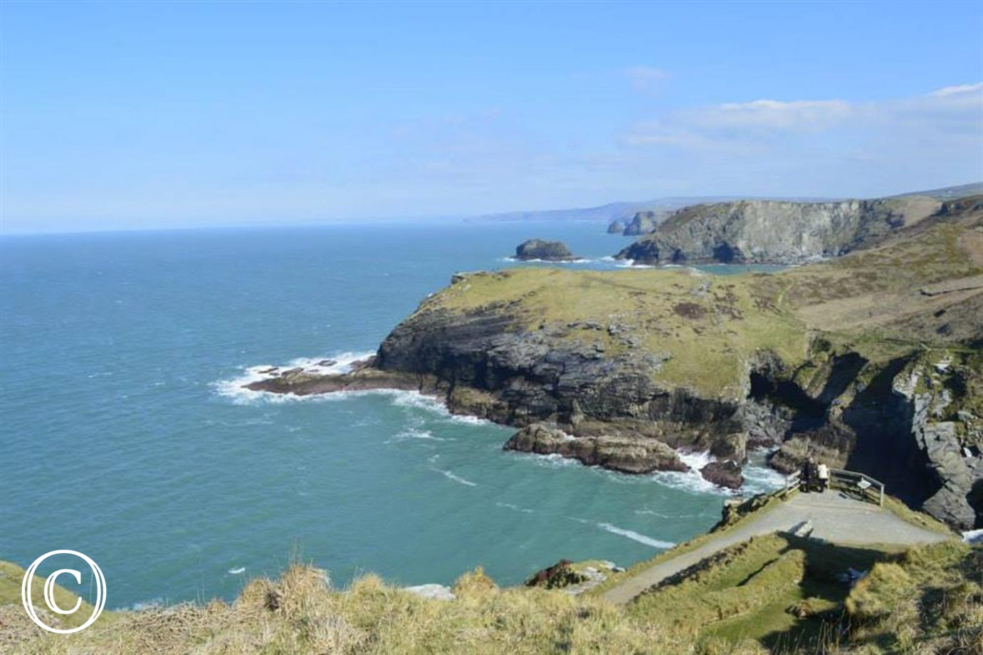 Stunning views from Tintagel Castle along the coast towards Boscastle