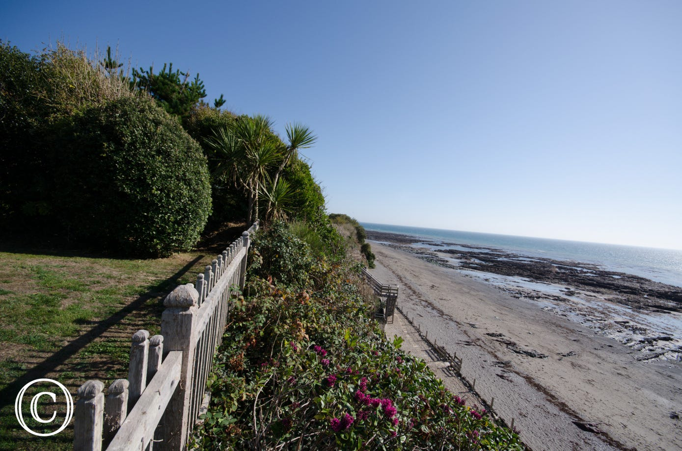 View from the garden of Oak Bee across Downderry Beach