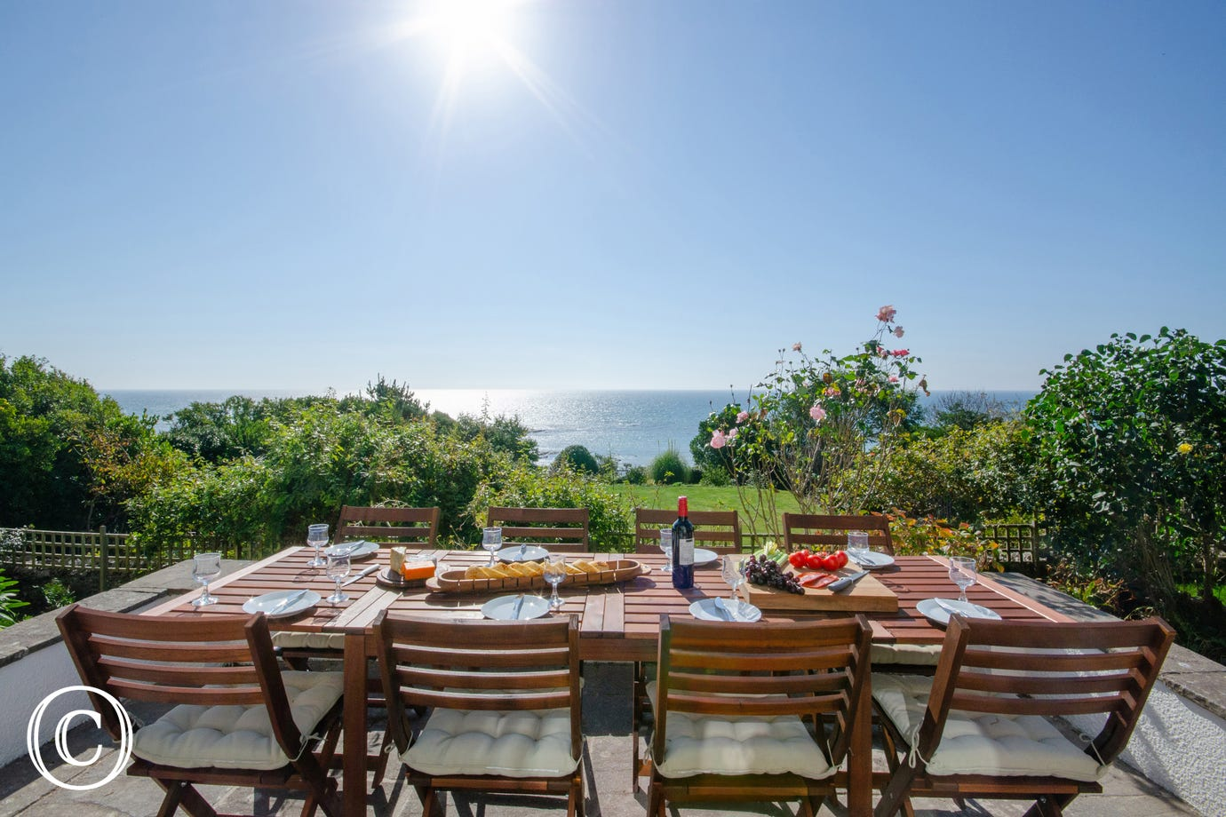 Sunny terrace with sea views perfect for al fresco dining