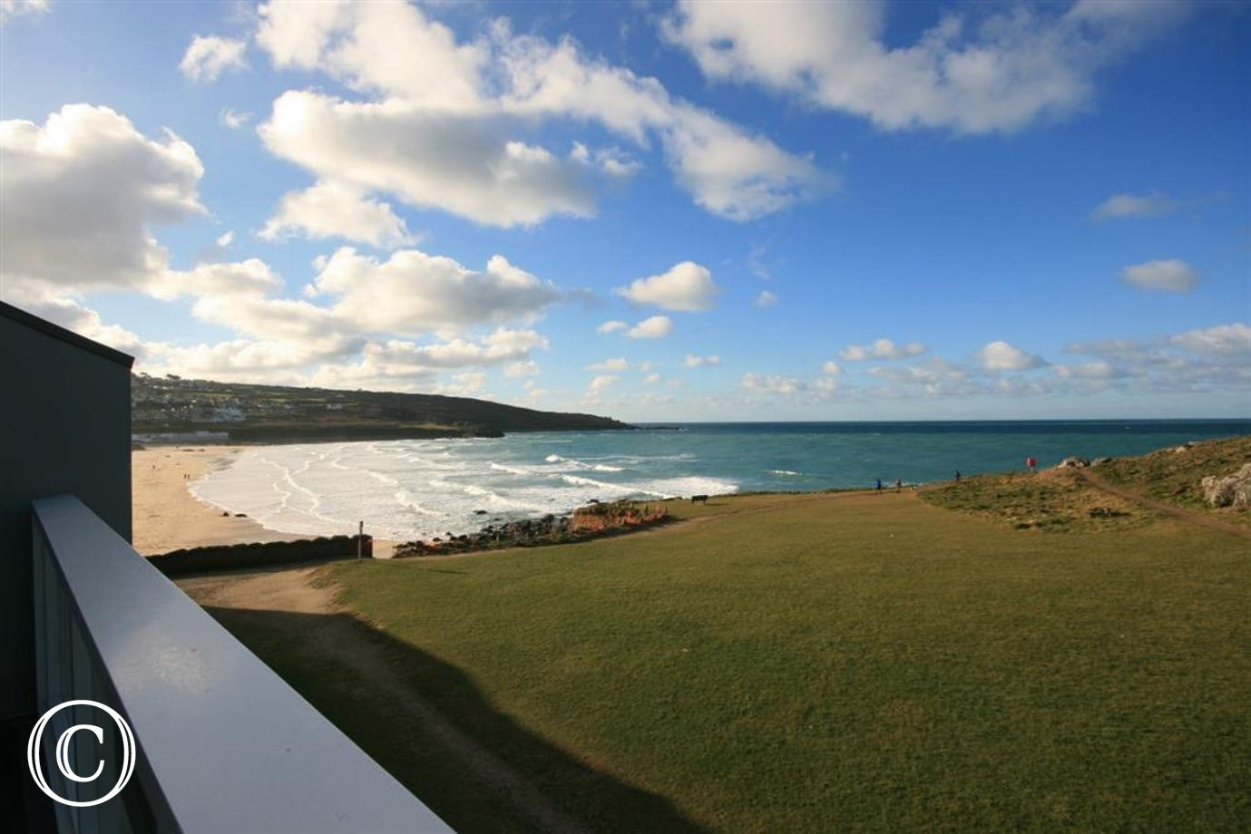 View of Porthmeor Beach from lounge balcony
