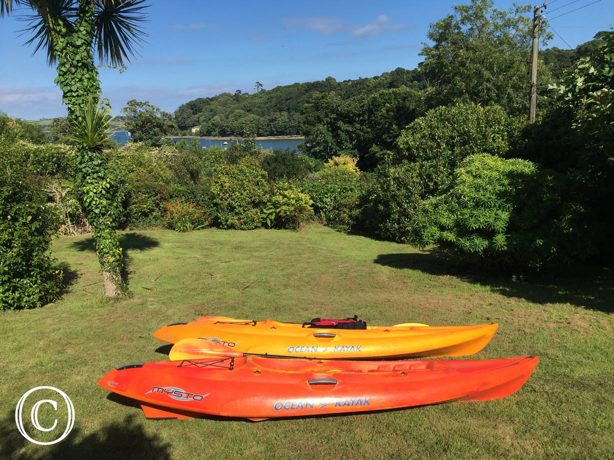 Kayaks in the garden
