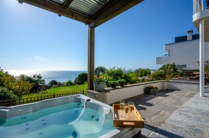 Hot tub with lovely sea views