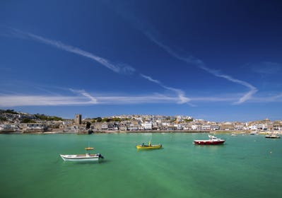 St Ives harbour is just a 2 minute walk away